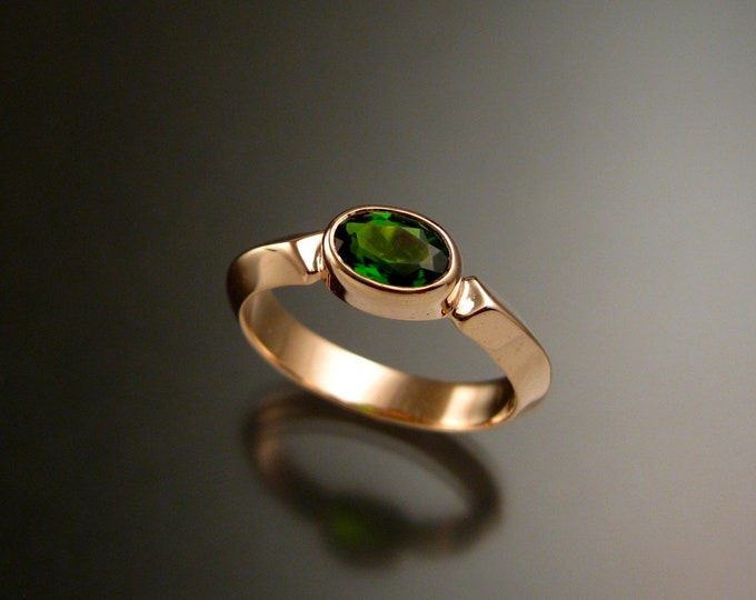 Chrome Diopside 14k Rose Gold triangular band ring with bezel set east west stone Emerald substitute ring handmade to order in your size