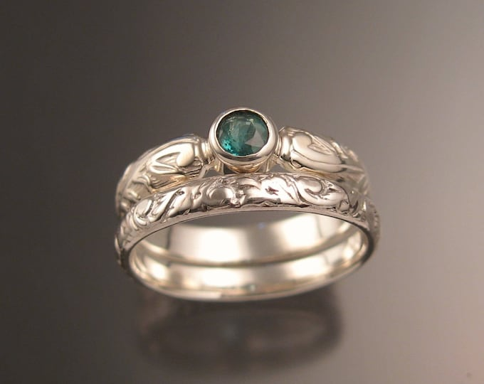 Colombian Emerald Natural 4mm round stone Wedding set Sterling silver Victorian bezel set rings for Brandon ONLY