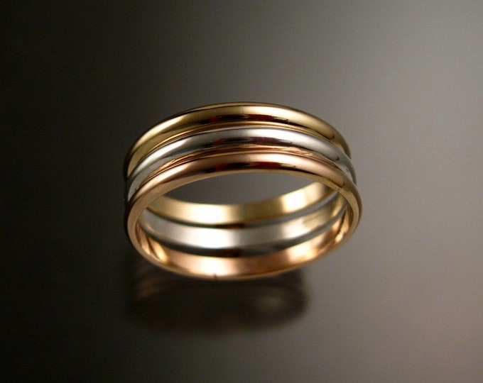 Rose and Yellow Gold Filled and Sterling Silver lightweight three ring Band tri-color stacking set Handmade to Order in your size