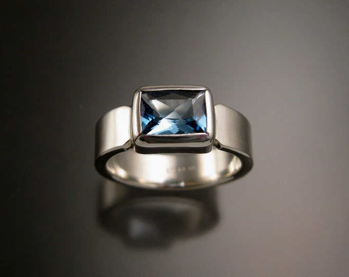 Blue Topaz large Rectangular stone Sterling Silver ring handmade to order in your size