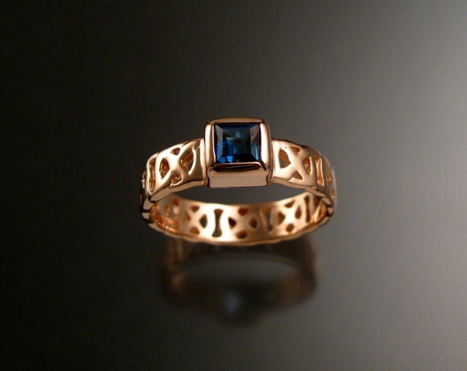 London Blue Topaz 6mm square Celtic band Wedding ring handcrafted in 14k Rose Gold made to order in your size