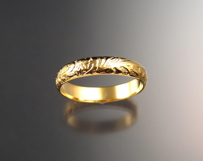 14k Yellow Gold wedding ring 4mm Floral pattern Band made to order in your size Victorian wedding band