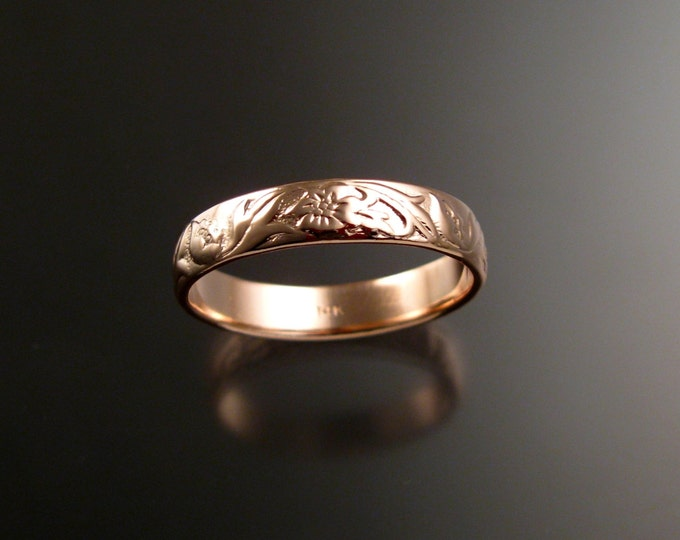 Rose Gold 4.7mm flower and vine pattern Band 14k gold wedding ring made to order in your large size Victorian wedding band