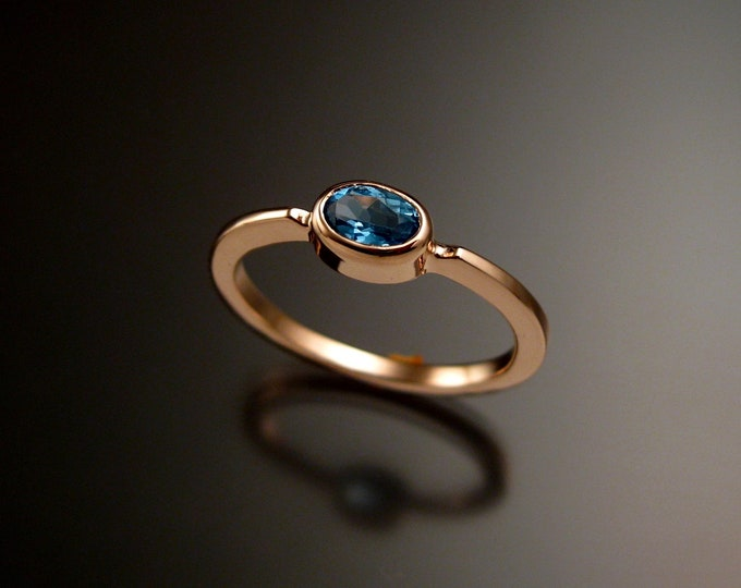 Blue Topaz 4x6mm oval stone ring 14k Rose Gold stacking ring Made to order in your size