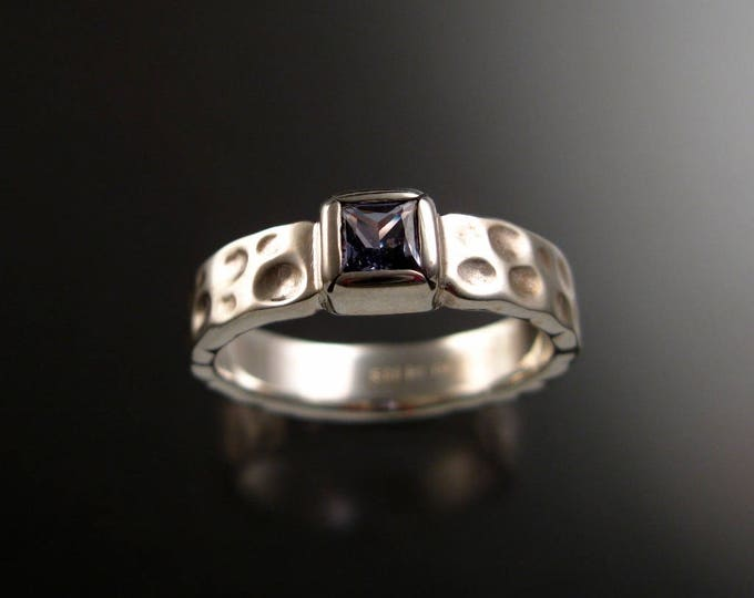 Sapphire square Moonscape ring handcrafted in Sterling Silver made to order in your size