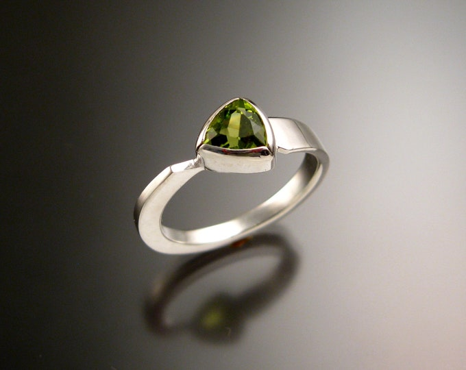 Peridot triangle ring 14k white Gold bezel set Stone Asymmetrical setting made to order in your Size