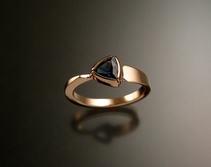 London Blue Topaz Triangle asymmetrical 14k Rose Gold ring made to order in your size