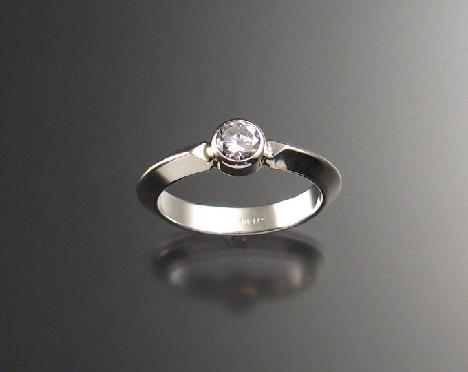 White CZ Grooms ring bezel-set Sterling Silver made to order in your size