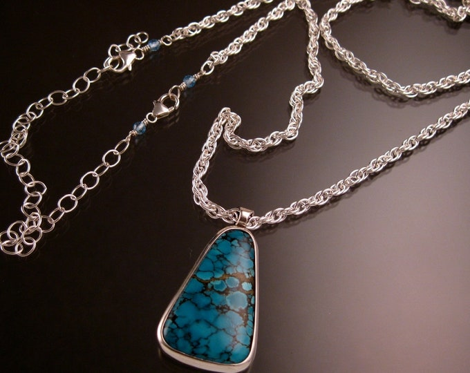 Turquoise Necklace Sterling Silver large stone pendant Handmade adjustable length necklace