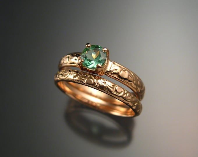 Tourmaline 14k Rose Gold Victorian floral pattern wedding ring set with Mint green Tourmaline Pink gold engagement rings