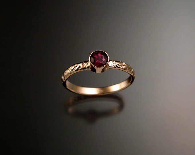 Rhodolite Garnet ring 14k Rose Gold bezel set Victorian floral pattern ring made to order in your size