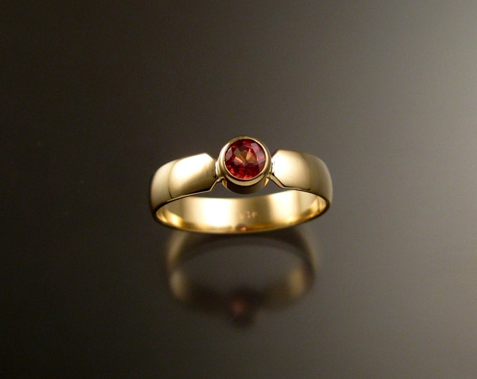 Orange Sapphire Wedding ring Natural Padparadscha Engagement ring Handmade in 14k yellow Gold