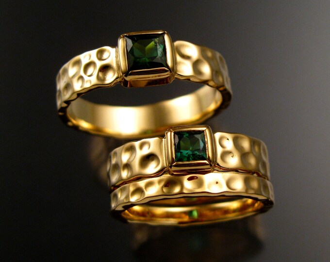 Green Tourmaline Wedding rings square stone Moonscape three ring set Emerald substitute Wedding rings set in 14k Yellow gold in your size