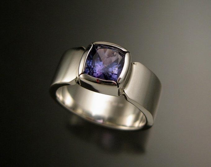 Tanzanite Natural Violet blue Cushion cut bezel set large stone Sterling Silver Ring size 9 1/2