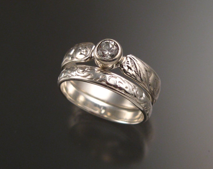 White Sapphire Brides 14k White Gold flower and vine pattern Natural wedding rings made to order in your size Victorian Diamond substitute