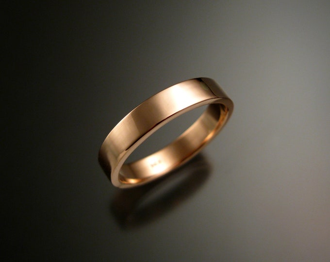 Rose Gold 1.5 mm x 4mm rectangular 14k comfort fit Bright finish Wedding band Handmade in your size ring band