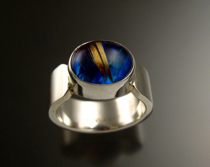 Rutilated Quartz and Blue Lab Opal Doublet ring size 8 3/4 ring