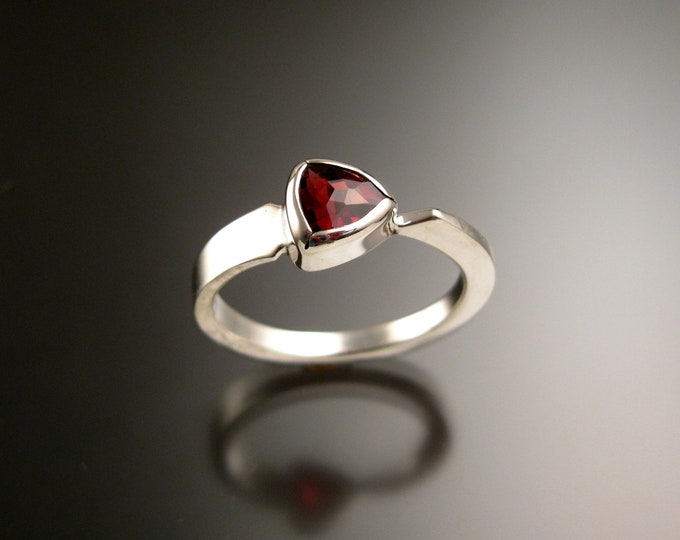 Garnet triangle ring Sterling Silver bezel set Stone Asymmetrical setting made to order in your Size