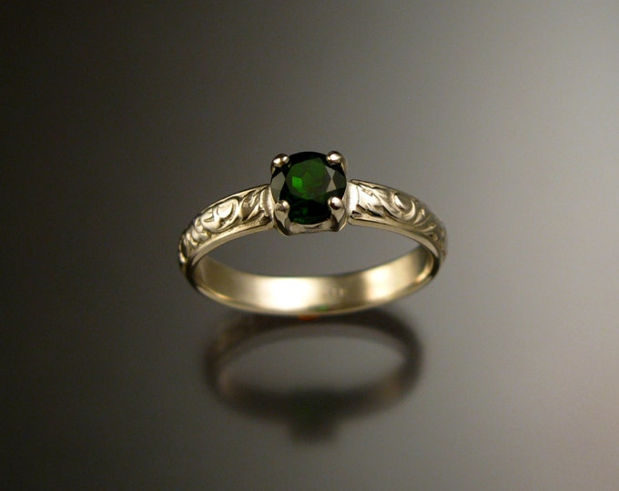 Chrome Diopside Wedding ring 14k White Gold Victorian Emerald substitute ring size 7 1/2