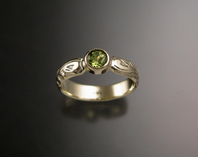 Peridot Wedding ring bezel 14k Green Gold Victorian Floral pattern Engagement ring made to order in your size