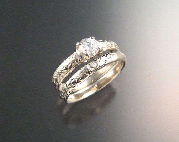 White Sapphire Wedding set Sterling Silver Diamond substitute ring made to order in your size