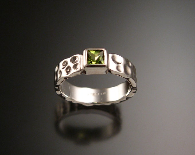 Peridot square Moonscape ring handcrafted in Sterling Silver made to order in your size