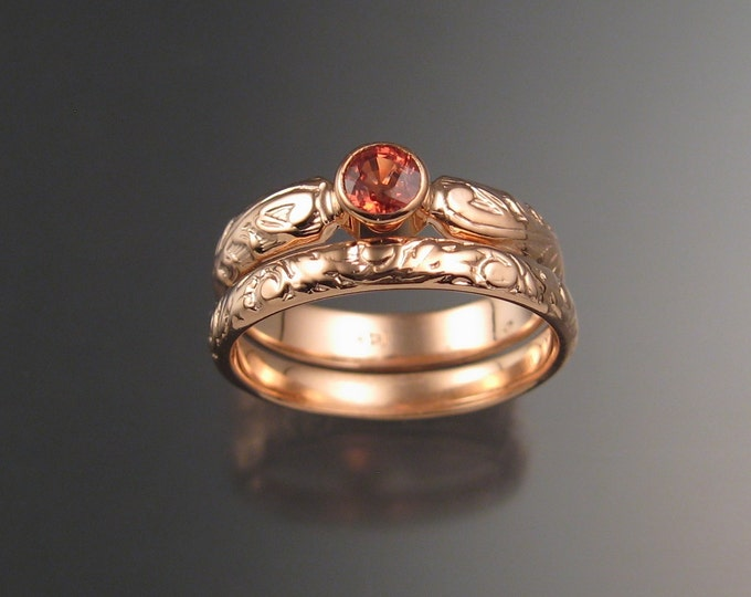 Sapphire Natural 4mm round Orange Sapphire Wedding set 14k rose gold Victorian bezel set Padparadscha ring made to order in your size
