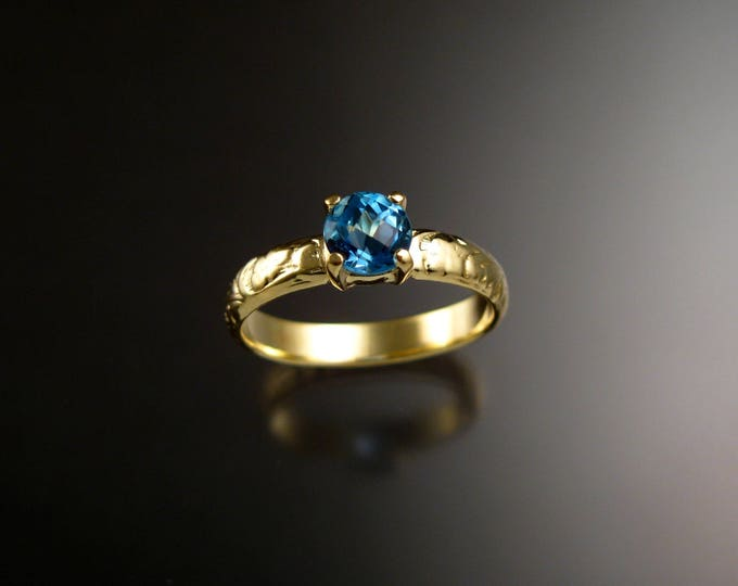 Blue Topaz Wedding ring 14k Green Gold Victorian Floral pattern Engagement ring made to order in your size