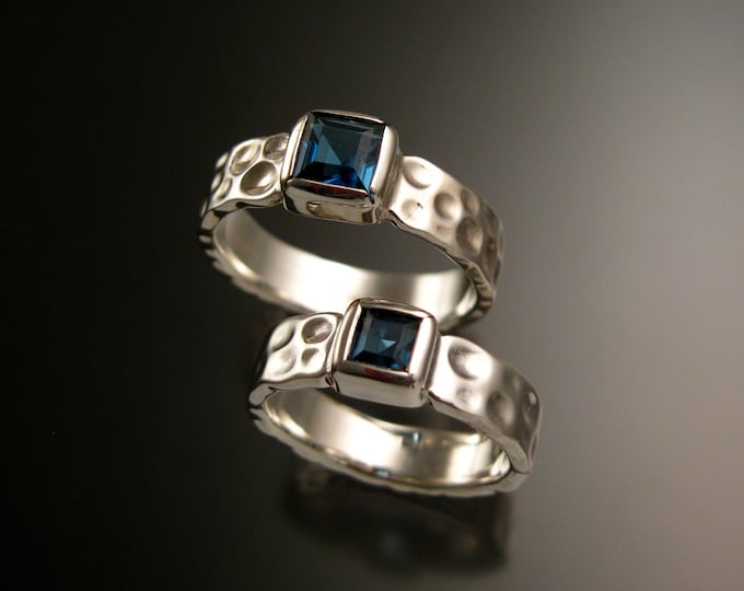 London blue Topaz square Moonscape two ring His and Hers Sapphire substitute Wedding rings Sterling Silver made to order in your size