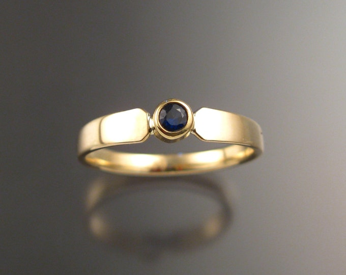 Sapphire Ring 14k Yellow Gold bezel set stone size 5 1/2