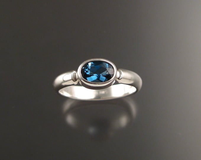 London Blue Topaz Sterling Silver handmade ring with bezel set east west stone stacking ring made to order in your size