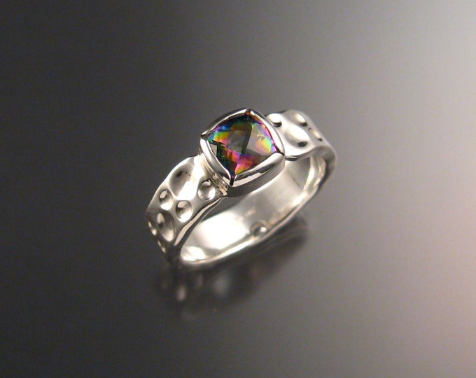 Mystic Topaz Moonscape Ring Sterling Silver Checkerboard cut stone made to order in Any Size