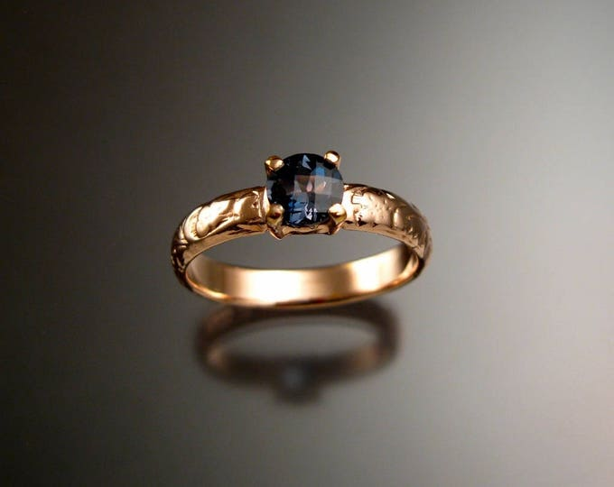 London blue Topaz Wedding ring 14k rose Gold made to order in your size
