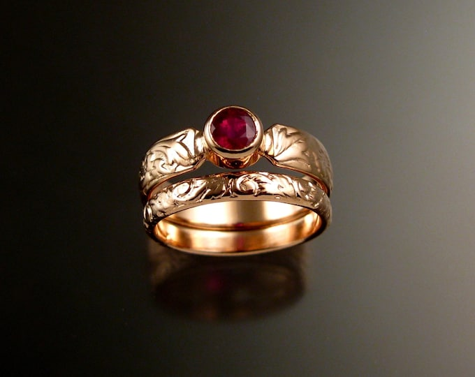 Ruby Rose Gold flower and vine pattern 14k Pink Gold Victorian wedding ring set made to order in your size