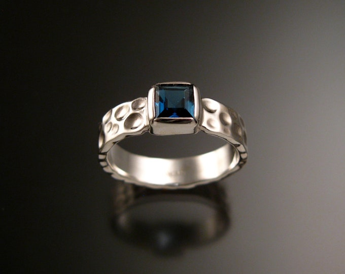 London Blue Topaz 6mm square Moonscape ring handcrafted in 14k White Gold made to order in your size