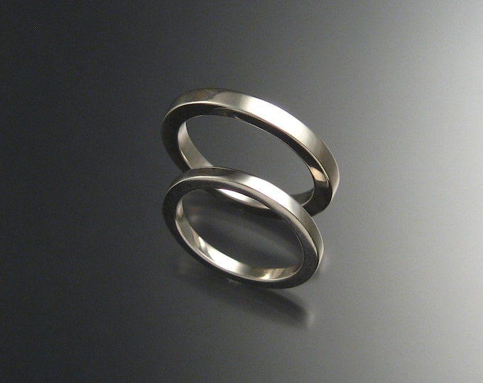 Sterling Silver Square Wedding bands His and Hers ring set made to order in your size