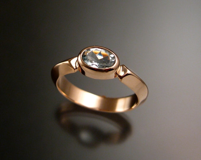Aquamarine and 14k Rose Gold  ring with triangular band and bezel set stone made to order in your size