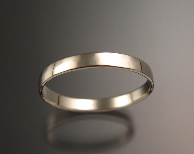 14k White gold 2.5 mm Lightly hammered and polished Low dome Wedding band Handmade in your Size
