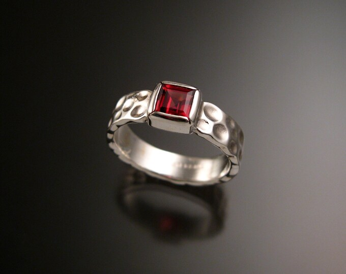 Garnet 6mm square Moonscape ring handcrafted in Sterling Silver made to order in your size