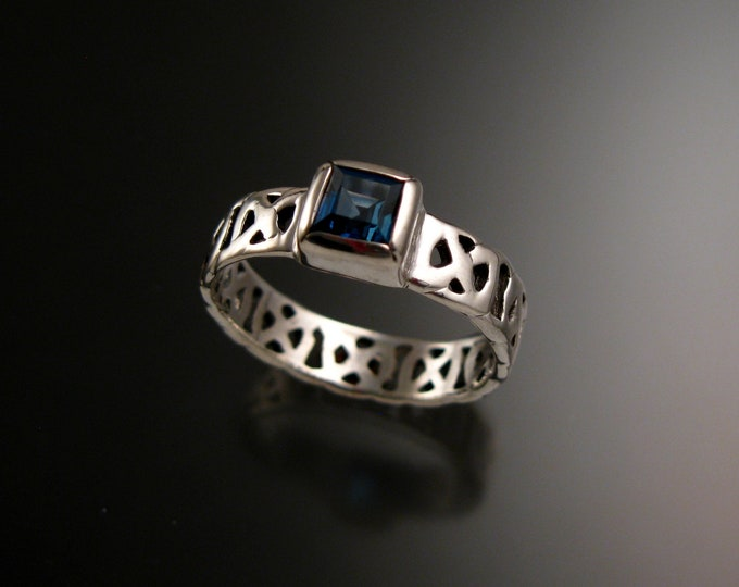 London Blue Topaz 6mm square Celtic band Wedding ring handcrafted in 14k White Gold made to order in your size