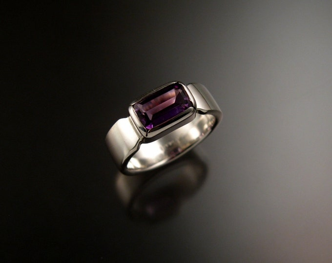 Amethyst ring Sterling silver rectangular cut stone made to order in your size