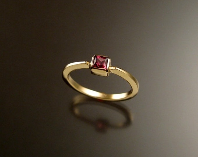 Pink Tourmaline square stone stackable ring 14k Yellow Gold ring made to order in your size
