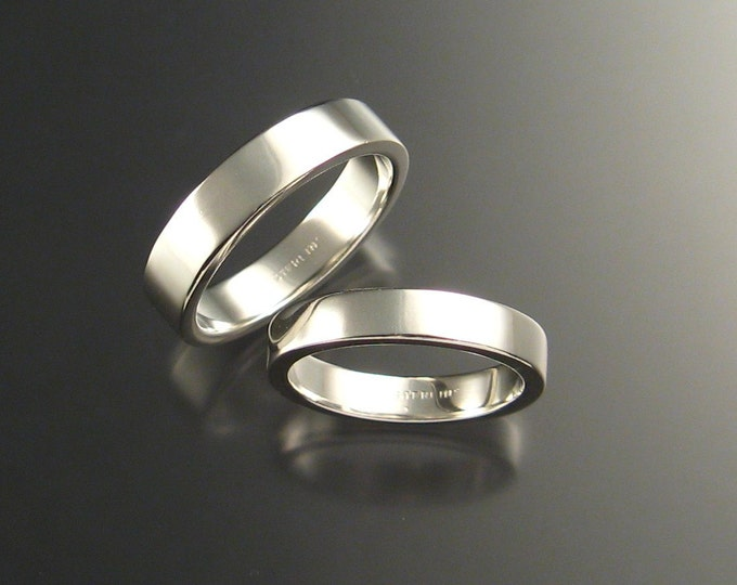 Sterling Silver Rectangular Wedding bands His and Hers made to order in your size