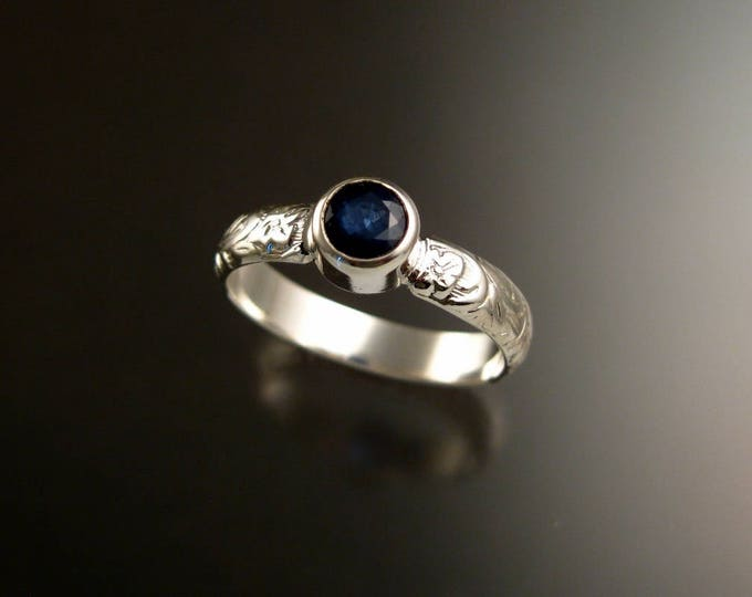 Sapphire Natural gemstone sterling silver Cornflower blue ring with Victorian floral pattern band size 9