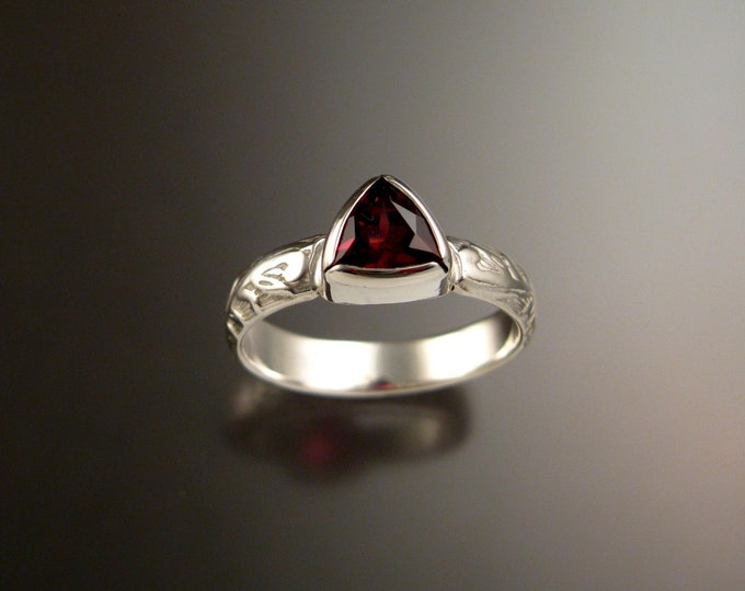 Garnet Triangle ring 14k White Gold Victorian bezel set stone ring made to order in your size