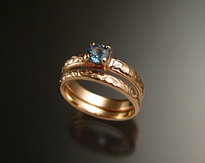 Aquamarine 14k Rose Gold Victorian floral pattern wedding ring set engagement two ring set Made to order in your size