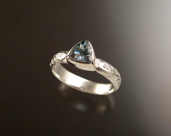 Aquamarine Triangle ring Sterling Silver Victorian bezel set stone ring made to order in your size