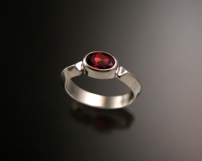 Garnet ring 14k white Gold Triangular band Made to order in your size