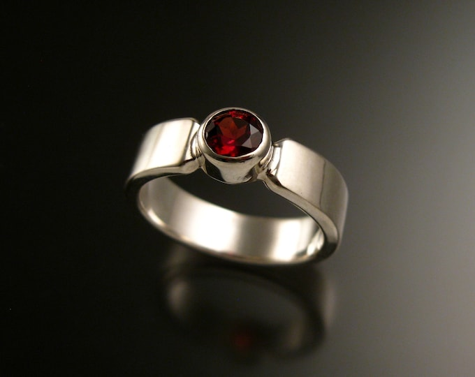 Garnet Sterling Silver handmade heavy rectangular band ring with bezel set stone ring made to order in your size