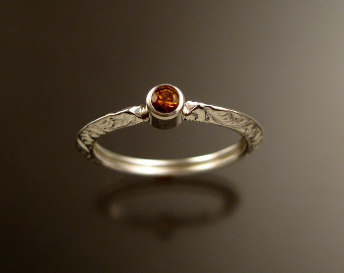 Orange Sapphire Wedding ring Sterling Silver Victorian bezel set ring made to order in your size